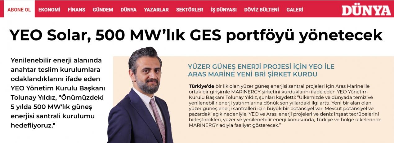 YEO Solar 500 MW'lık Güneş Enerji Santralleri portföyü yönetecek
